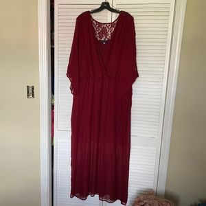 3/$25  Plus size red maxi dress